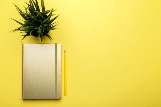 Golden notepad and pencil