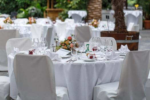 Tables setting for an event party or wedding reception