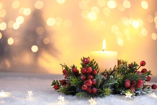 Christmas card template candle and ornaments