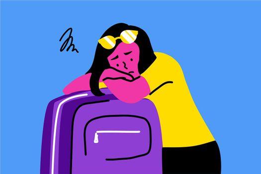 Sleep, tourism, travelling, depression, mental stress, frustration, fatigue concept