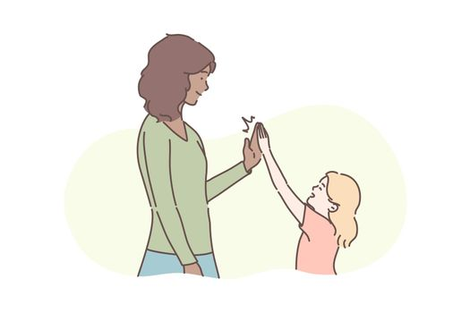 Motherhood, childhood, congratulation concept