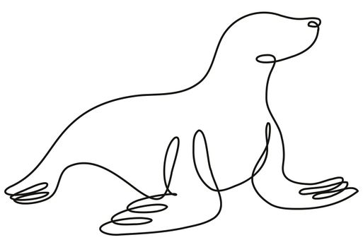 Seal Viewed from Side Continuous Line Drawing