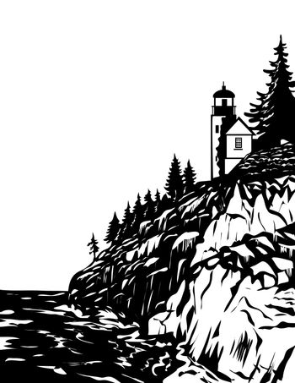 Bass Harbor Head Light in Acadia National Park Hancock County Maine USA WPA Woodcut Black and White Art