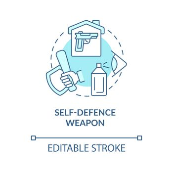 Self defence weapon blue concept icon
