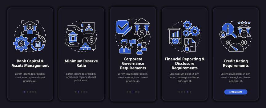 Bank regulation system onboarding mobile app page screen