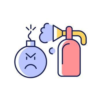Extinguishing emotions RGB color icon