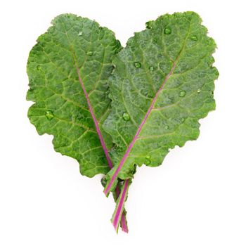 Flat lay fresh kale leaves in heart shape isolated on white background. Top view love healthy organic food.