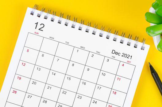 Close up December 2021 desk calendar