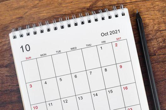 October 2021 desk calendar