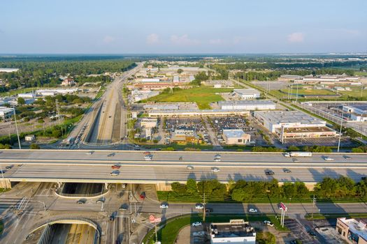 Panorama aerial view interstate 45, highway road junction at southeast side of Houston, Texas