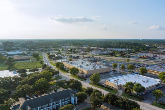 Aerial view shopping mall lot near 45 interchanges view in Houston city Texas USA