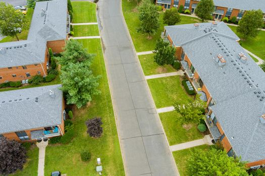 Wide panorama, aerial view with tall buildings, in the beautiful residential quarters NJ USA