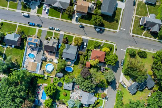 Panorama view over the small town landscape suburb homes sleeping area roof houses in Sayreville NJ