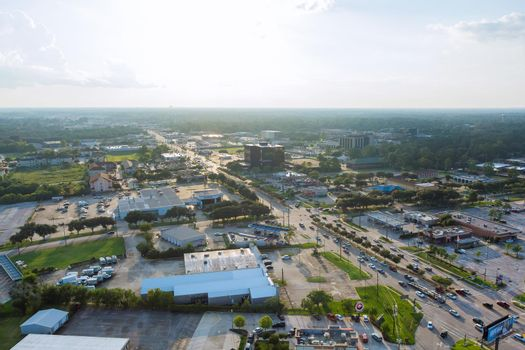 Panorama aerial view shopping mall plaza view in Houston city Texas USA