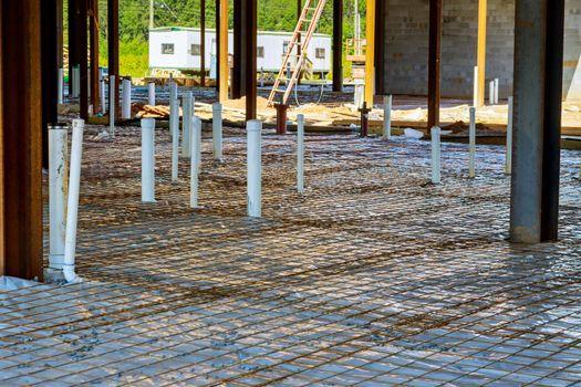 Plumbing work of assembling system of sanitary pvc sewage pipes