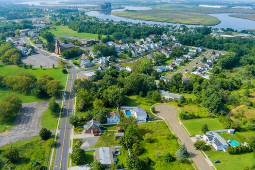 Aerial view of a Sayreville town neighborhood residential area houses in a small town in NJ