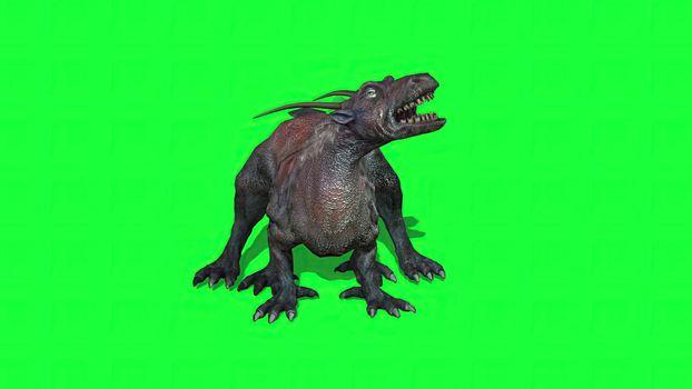3d illustration - fantasy beast  on green screen