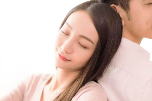 Relaxed Asian  beautiful young couple