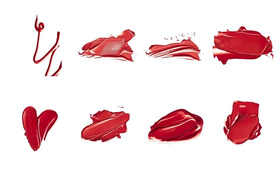 Red lipstick samples as beauty cosmetic texture isolated on white background, makeup smear or smudge as cosmetics product or paint strokes
