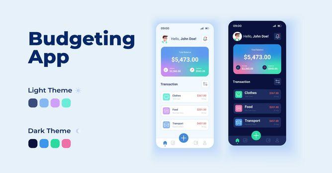 Budgeting app cartoon smartphone interface vector templates set