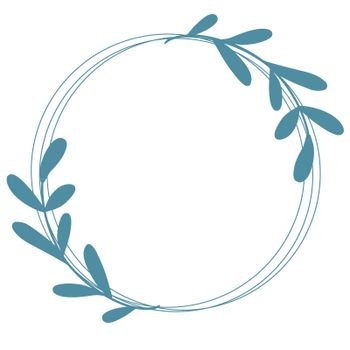 Beautiful round wreath with graceful elongated branches with sheets, vector illustration.