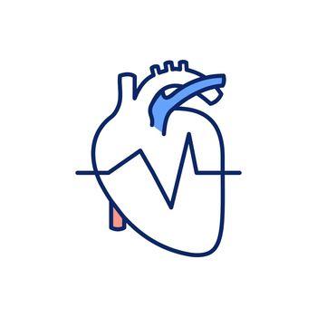 Normal heart rhythm RGB color icon