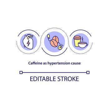Caffeine as hypertension cause concept icon