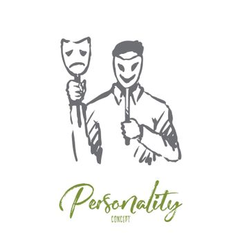 Personality, character, man, face, psychology concept. Hand drawn isolated vector.