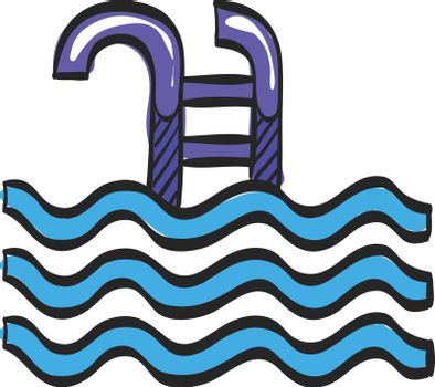 Swimming pool icon in color drawing. Athlete fitness water sport skill