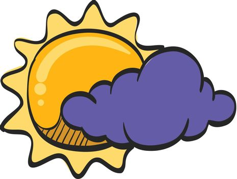 Weather forecast partly cloudy icon in color drawing. Meteorology overcast
