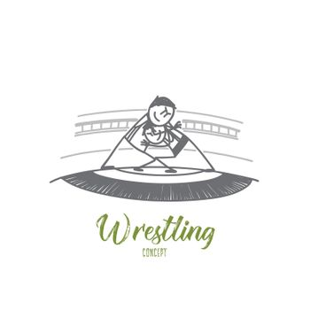 Wrestling concept. Hand drawn isolated vector