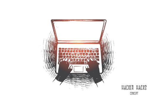 Hacker hack concept. Hand drawn isolated vector.