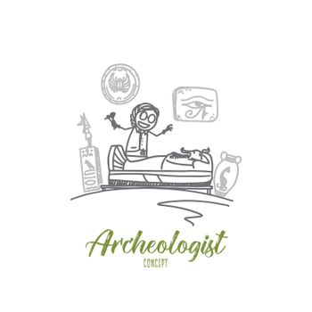 Archeologist concept. Hand drawn isolated vector