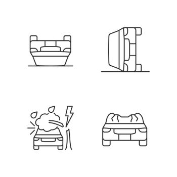 Motor vehicle collisions linear icons set