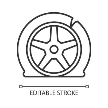 Tyre damage linear icon