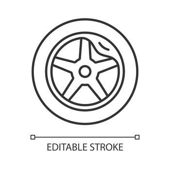 Wheel damage linear icon