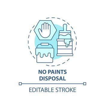 No paints disposal blue concept icon