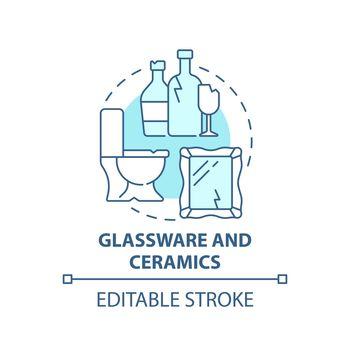 Glassware and ceramics blue concept icon