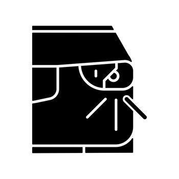 Broken headlight black glyph icon