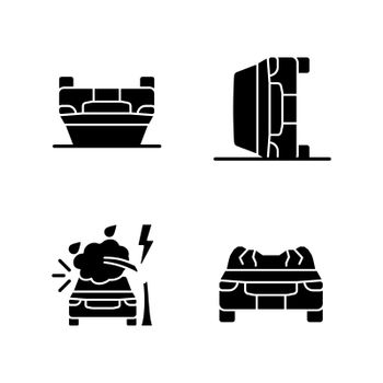 Motor vehicle collisions black glyph icons set on white space