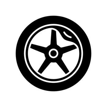 Wheel damage black glyph icon