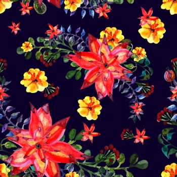Floral seamless pattern. Dark background. texture with leaves. Flourish tiled wallpaper