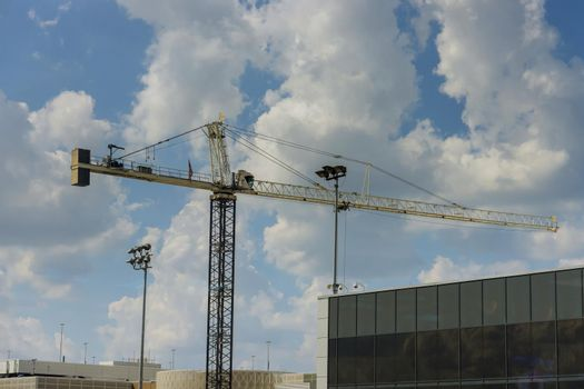 High rise building construction with tower crane