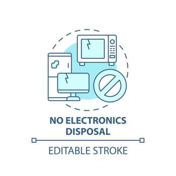 No electronics disposal blue concept icon