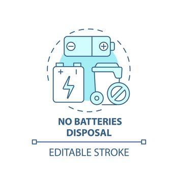 No batteries disposal blue concept icon