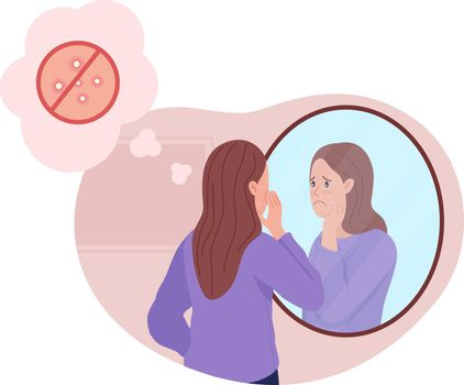 Teenage girl upset over acne 2D vector isolated illustration