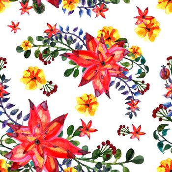 Floral seamless pattern. White background. texture with leaves. Flourish tiled wallpaper