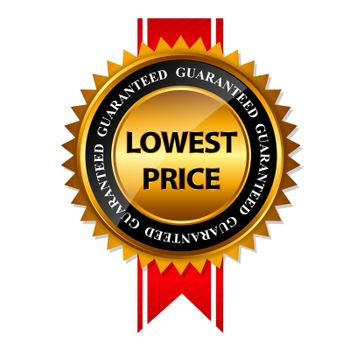 Lowest Price Guarantee Gold Label Sign Template Vector Illustration