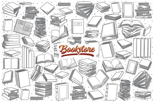 Hand drawn bookstore set with lettering