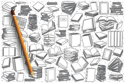 Hand drawn bookstore set background